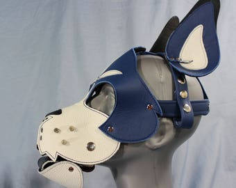 Blue and White Boxer Hood with Studded Whiskers