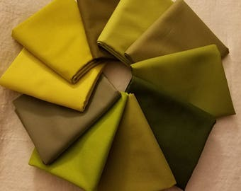 Green 10 pc. Kona Cotton Fabric Bundle, Robert Kaufman Fabrics, Choose Your Bundle Size