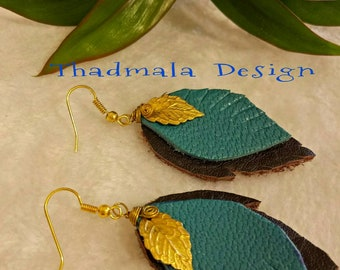 boho leather sheet earring