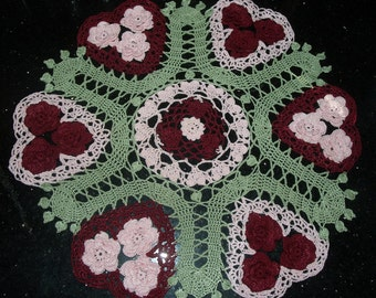 Valentine Hearts and Roses Doily  Pattern