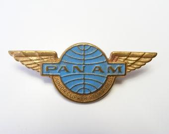 Pan Am Wings badge - Junior Clipper Stewardess- vintage travel 1960s pinback, brooche