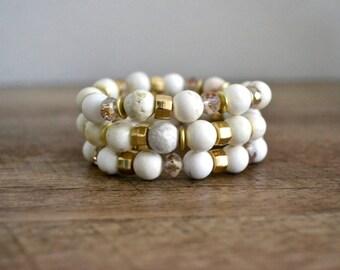 White Howlite Beaded Bracelet Set, Semi-Precious Stone Bracelet, Stacking Bracelet Set, Gift for Her, White Stretch Bracelet, Boho Bracelet