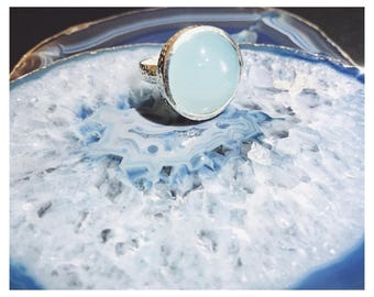 RING AQUA CHALCEDONY, Ring Silver 925, Gemstone ring, Blue ring, Silver ring