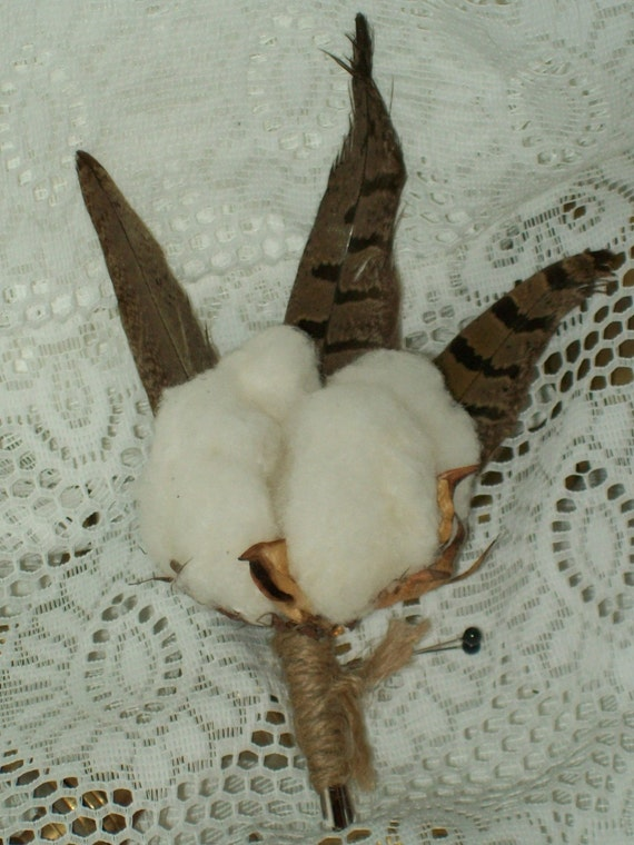 Cotton Boll Boutonniere