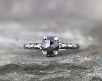Black Rose Cut Diamond Engagement Ring - LIMITED EDITION - Oxidized Sterling Silver - Antique Style Rings -Black Diamond Gemstone Ring