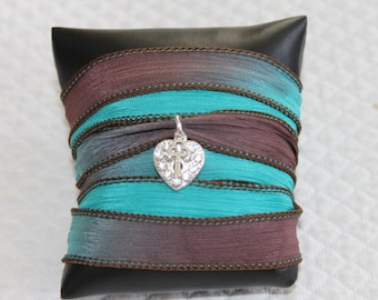 Ribbon Bracelet with turquoise, Brown, ombre silk with a rhinestone heart and key, cool to the France shipping