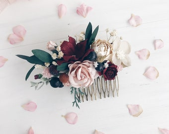 Burgundy Hair comb, Deep red Bridal hair comb, Wedding hair comb, Bridal flower headpiece, Wedding headpiece, Winter wedding