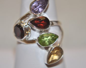 Multi Color Genuine Gemstone Ring in Sterling Silver Bezel Set with Purple Amethyst Green Peridot Red Garnet Yellow Citrine Size 6.5 Lady's