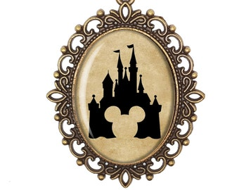 Mickey Mouse Disney Princess Castle Silhouette Fairytale Victorian Cameo Large or Small Handmade Bronze or Silver Necklace Jewellery
