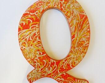 Letter Q, Orange and Gold Q, Wall Decor Q