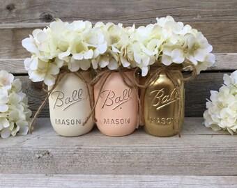 Peach and Gold, Peach and Gold Nursery, Peach and Gold Baby Shower,Gold  Vases, Hand Painted Mason Jars, Spring Wedding,Gold Mason Jars