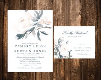Dusty Blue Floral Wedding Invitations; Floral Wedding Invitations; Blush Floral Wedding Invitations; Dusty Blue Wedding Invitations