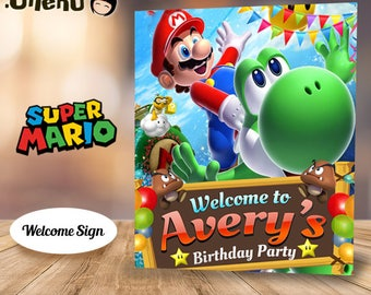 SALE Super MARIO Bros Printable Welcome Sign - Mario Party Decors - Mario Birthday Party Sign - Mario Party Sign - Mario Party Favors