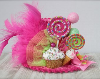 Candyland Inspired Mini Top Hat Headband (or fascinator) - Perfect Birthday or Candy Party Photo Prop