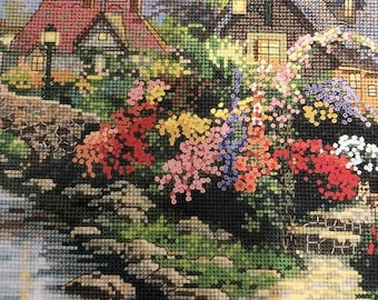 SUMMERSALE Vintage 1998 Thomas Kinkade, Painter of Light, Lamplight Bridge, Designed for, Counted Cross Stitch, or Needlepoint, Candamar Des