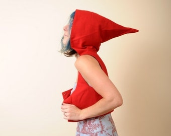 Red Cropped Jacket with Hood - Red Bolero - Red Riding Hood - Cropped Bustier Top with Goblin Hood, MALAM