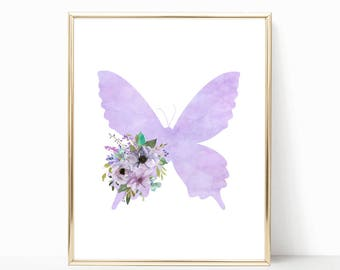 Butterfly Nursery Decor. Butterfly Nursery Print. Printable. Watercolor Butterfly Nursery Art. Purple Floral Butterfly Art. Girl Bedroom Art