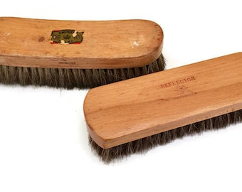 SALE Shop Brushes Vintage Horsehair Brush Wooden Rectangular 1940s 1950s Industrial Two 1940s 1950s
