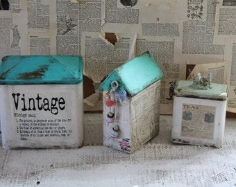 COTTAGE Farmhouse Decorative Canister Set Kitchen Storage Vintage Tins Kitchen Decor Distressed Hand Painted -Set of 3