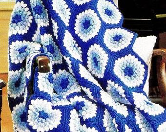 INSTANT DOWNLOAD PDF Vintage Crochet Pattern  for Hexagon Granny Afghan Throw Blanket Retro