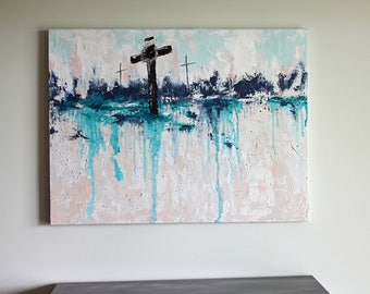 Christian Art, Cross At Calvary, Large Painting, Abstract Art, Teal, Neutral, 30x40, Original Art, Christian Art, Cross Art, Mixed Media