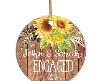 Personalized Couple Ornament, Engaged Ornament, Ornament for Engagement, Engaged Couple Gift, Engagement Gift, Christmas Ornament, Rustic