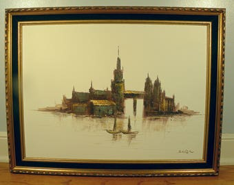 Vintage Signed Mid Century Oil Painting in Gold and Velvet Frame by Baoler