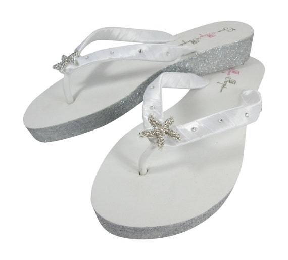 Heel gold Bridal with White sparkle ivory Wedges bling champagne Glitter copper Starfish and Flops wedding for platinum Silver Flip XEwqw16