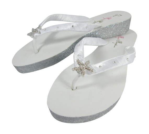 Wedges White wedding Silver for with Bridal Glitter Starfish champagne Flops bling sparkle Flip Heel ivory and platinum gold copper HxfwHrU