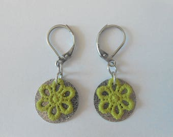 Earrings with spangled sequins and hand-painted green lace flowers.