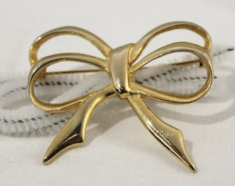 Vintage Golden Double Bow Pin / Brooch