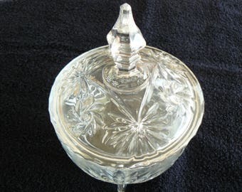Footed Lead Crystal Candy Dish With Lid,  Cut Floral Pattern, Pinwheel