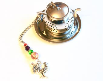 Rooster Tea Infuser, French Country Decor, Tea Party, High Tea, Mad Hatter, Charm Tea Infuser,Beaded Mesh Tea Ball, Tea Gift