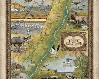 290-Bosque Del Apache National Wilderness Refuge vintage historic antique map poster print by Lisa Middleton