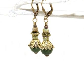 Nephrite Jade Golden Brass Dangle Earrings