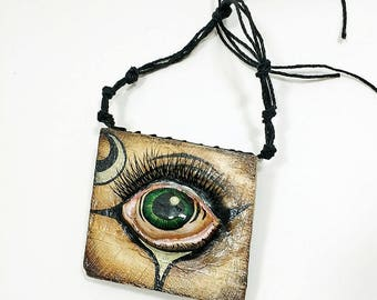 Green Eye - wood wall hanging