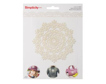 White Doily Motif Iron On Applique, Floral Iron On Patch, Flowers Patch, Flower Applique, Lace Patch, Wedding Applique, Embroidered Patch
