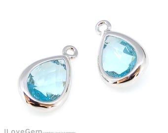 2pcs, B0129, Rhodium, Aquamarine, 6.7X11mm, Framed Glass Pendant, Glass Teardrop Charm, March Glass Birth stone, Birthstone Pendant