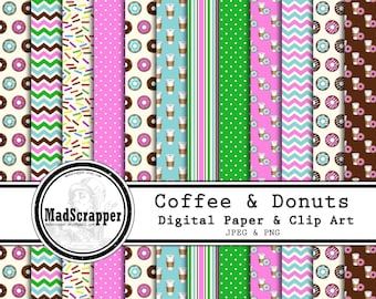 Digital Scrapbook Paper Coffee and Donuts Digital Paper and Clip Art 12 Patterns 4 Solids 12 x 12 Instant Download