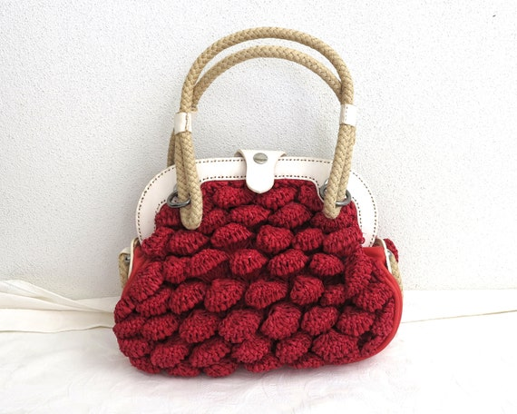 Jamin Puech handbag, red raffia with white and red leather trim, thick rope handles, colorful lining, designer handbag, good practical size
