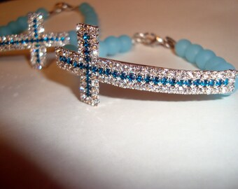 Rhinestone Cross Bracelet,  Turquoise and White Rhinestones, Aventurine Beaded Band, BOHO Bracelet, Sparkly Bracelet, 7 inch or 8 inch, Fun