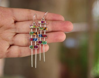 Silver Multi Color Earrings, Bars Earrings, Gift for Women, Gift for Girl, Unique Earrings, Original Israel Jewelry, Simona Azriel