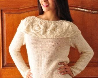 F0015 - Boat neck sweater handmade, 100% Baby Alpaca
