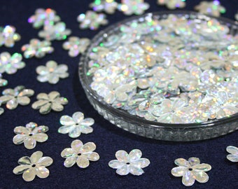 15 mm • Silver Glitter Flower Sequins