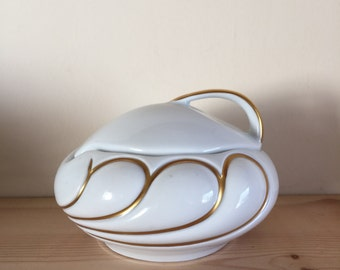 Interesting Vintage White and Gold Gilt Pot Sugar Bowl Royal Porzellan Bavaria KPM Bavaria Germany Handerbeit