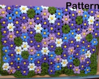 Crochet Pattern-Baby Violet Flower Blanket Crochet Pattern-Crochet Flowers Afghan Pattern/Newborn/Baby/Girls/Toddler