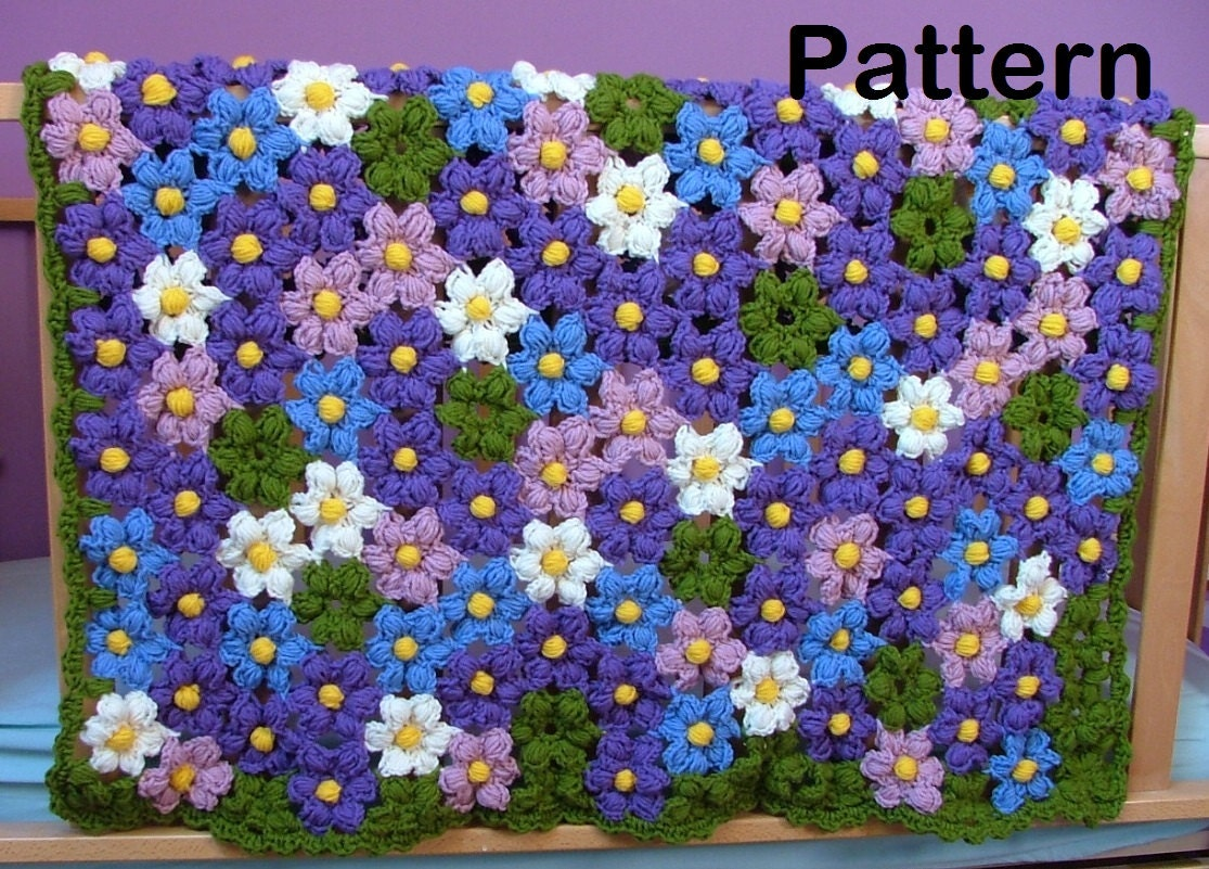 Crochet Pattern-Baby Violet Flower Blanket Crochet
