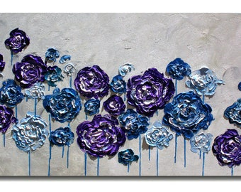 Original   Purple Blue Flowers Painting,    Impasto Painting, Blue Impasto Flowers Painting,  Palette Knife  Fine Art. Made2Order.