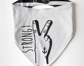 Reversible Strong Tattoo Hand Baby Bib - Unisex Stripes Sailor Anchor Swallow Dribble Cloth Grey