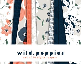 Wild Poppies Digital Paper Collection  { Set of 14 } in Navy, Coral, Greige and Emerald and 6 Digital Stickers